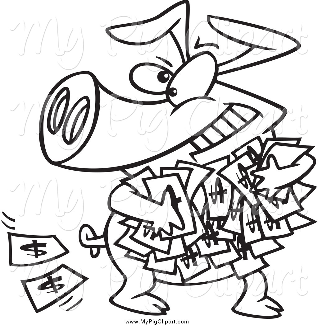 swine clipart of a black and white greedy pig with money by