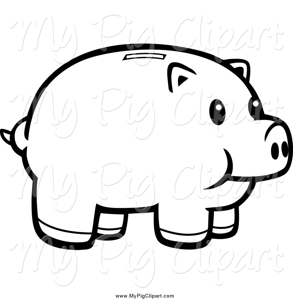 Line Drawing Piggy Bank : Swine clipart of a black and white happy piggy bank by