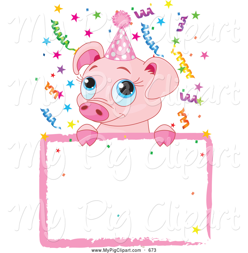 Swine Clipart of a Cute Birthday Piglet over a Sign by Pushkin - #673