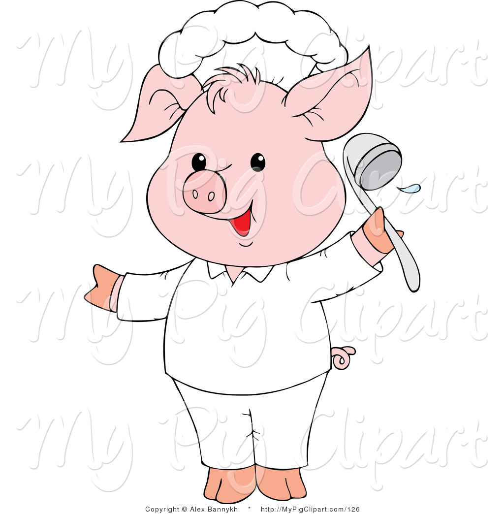 swine clipart of a cute pink pig chef holding a ladle and smiling