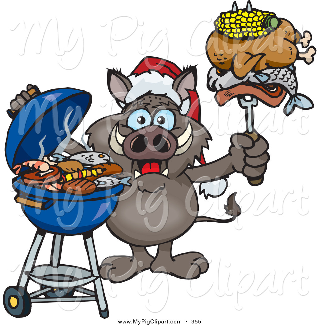 Swine Clipart of a Festive Grilling Boar Wearing a Santa Hat and ...