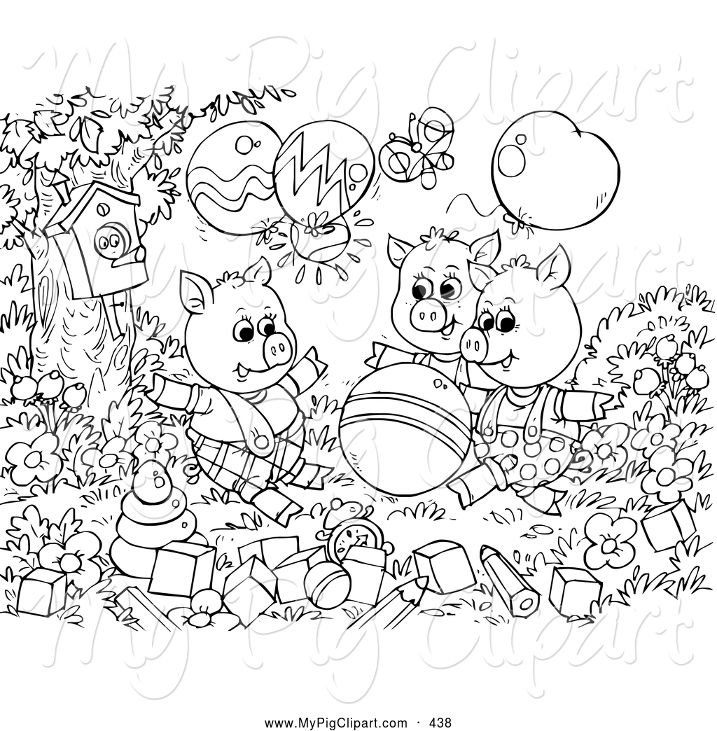 Coloring pages 3 little pigs - Group Of Black And White Three Little Pigs And The Big Bad Wolf Coloring Page Outline