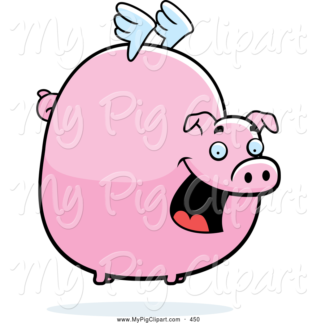swine clipart of a happy fat flying pig with little white wings by rh mypigclipart com Pig Sty flying pig clip art