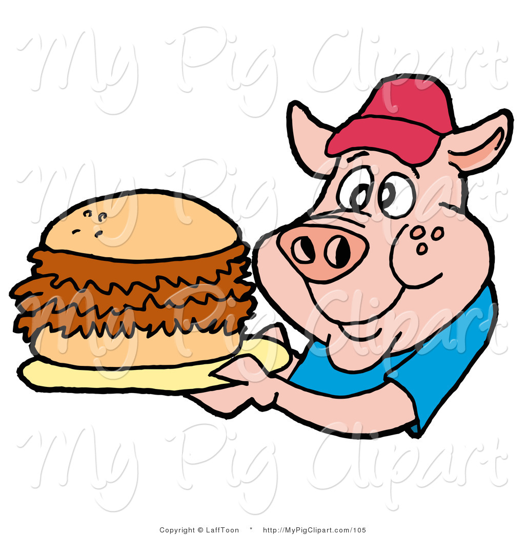 Swine Clipart of a Male Fast Food Pig in a Red Hat and ...