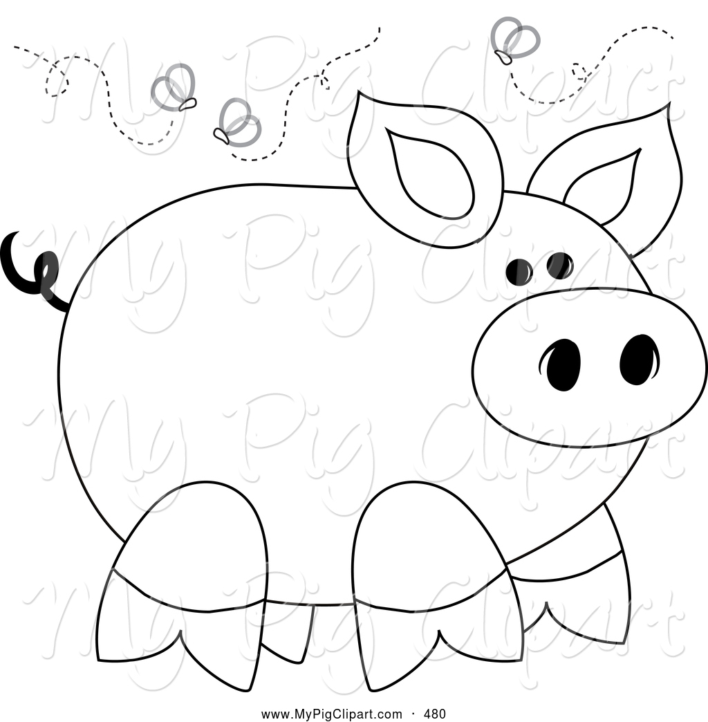 Swine Clipart Of A Smelly Stinky Piggy Surrounded By Flies Pams