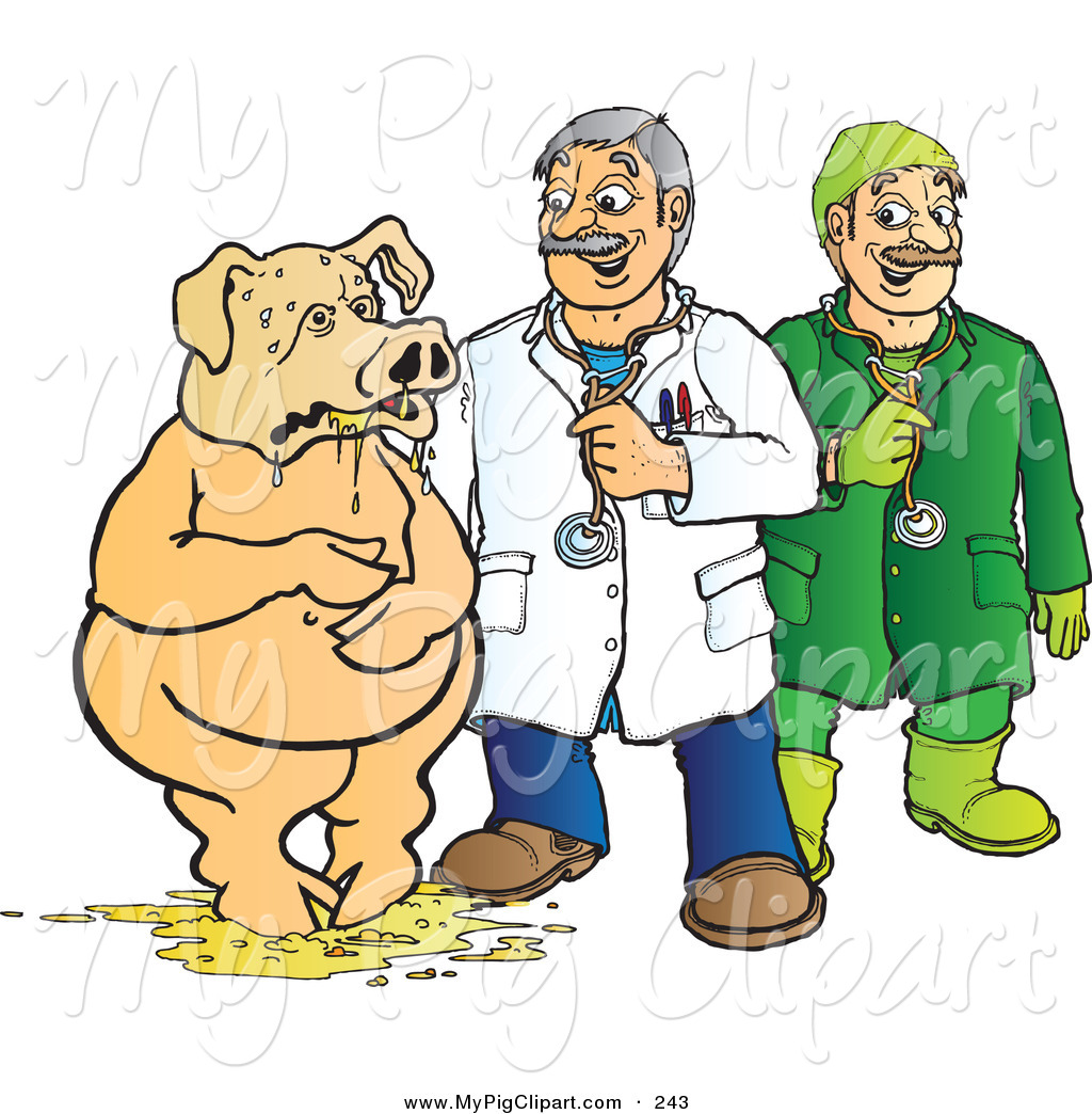 Swine Clipart of a Veterinarian and Doctor Assisting a Pig Covered ...