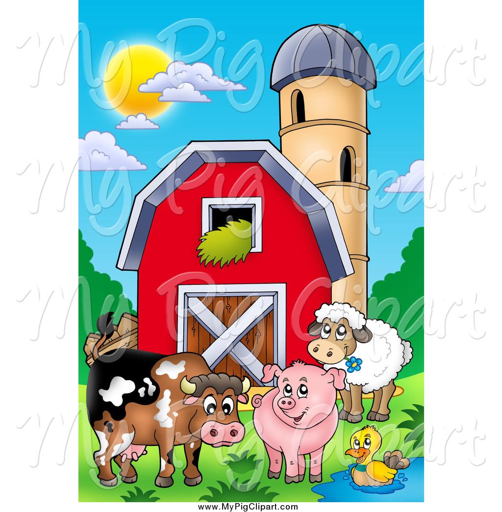 Happy Animals By A Barn And Silo Granary