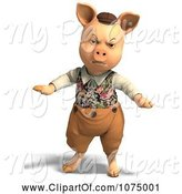 Swine Clipart of 3d Angry Pig in Clothes by Ralf61