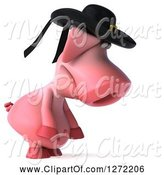 Swine Clipart of 3d Breton Pig Facing Right and Pouting by Julos