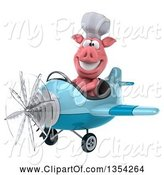 Swine Clipart of 3d Chef Pig Aviator Pilot Flying a Blue Airplane, on a White Background by Julos