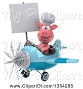 Swine Clipart of 3d Chef Pig Aviator Pilot Holding a Blank Sign and Flying a Blue Airplane, on a White Background by Julos