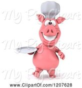 Swine Clipart of 3d Chef Pig Carrying a Plate by Julos