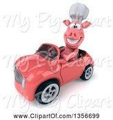 Swine Clipart of 3d Chef Pig Driving a Pink Convertible Car, on a White Background by Julos