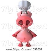 Swine Clipart of 3d Chef Pig Facing Front by Julos