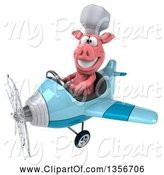 Swine Clipart of 3d Chef Pig Flying a Blue Airplane, on a White Background by Julos