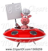 Swine Clipart of 3d Chef Pig Flying a Ufo, on a White Background by Julos
