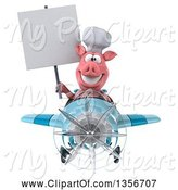 Swine Clipart of 3d Chef Pig Holding a Blank Sign and Flying a Blue Airplane, on a White Background by Julos