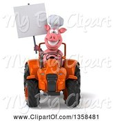 Swine Clipart of 3d Chef Pig Holding a Blank Sign and Operating an Orange Tractor, on a White Background by Julos