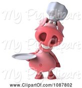 Swine Clipart of 3d Chef Pig Holding a Plate 1 by Julos