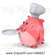 Swine Clipart of 3d Chef Pig Holding a Plate 2 by Julos