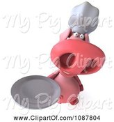 Swine Clipart of 3d Chef Pig Holding a Plate 3 by Julos