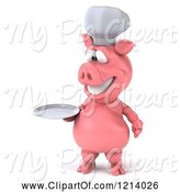 Swine Clipart of 3d Chef Pig Holding a Plate by Julos
