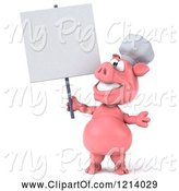 Swine Clipart of 3d Chef Pig Holding a Sign by Julos