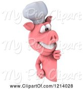 Swine Clipart of 3d Chef Pig Looking Around a Sign by Julos