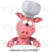 Swine Clipart of 3d Chef Pig Looking down at a Sign by Julos