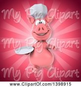 Swine Clipart of 3d Chef Pig, on a Pink Background by Julos