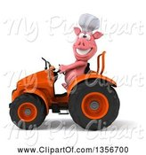 Swine Clipart of 3d Chef Pig Operating an Orange Tractor, on a White Background by Julos