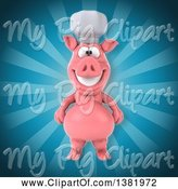 Swine Clipart of 3d Chef Pig over Rays by Julos