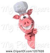 Swine Clipart of 3d Chef Pig Pointing to and Looking Around a Sign by Julos
