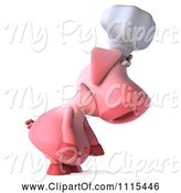 Swine Clipart of 3d Chef Pig Pouting and Facing Right by Julos