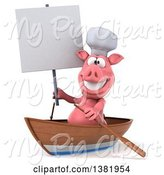 Swine Clipart of 3d Chef Pig Rowing a Boat, on a White Background by Julos