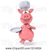 Swine Clipart of 3d Chef Pig Running with a Plate by Julos
