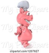 Swine Clipart of 3d Chef Pig Walking to the Right by Julos