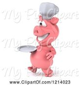 Swine Clipart of 3d Chef Pig Walking with a Plate by Julos