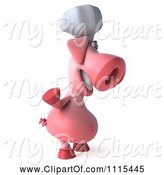 Swine Clipart of 3d Chef Pig Waving and Facing Right by Julos