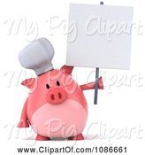 Swine Clipart of 3d Chef Pig with a Sign 3 by Julos
