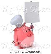 Swine Clipart of 3d Chef Pig with a Sign 4 by Julos