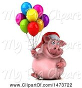 Swine Clipart of 3d Christmas Chubby Pig, on a White Background by Julos