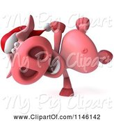 Swine Clipart of 3d Christmas Pig Doing a Cartwheel by Julos