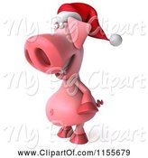 Swine Clipart of 3d Christmas Pig Facing Left 2 by Julos