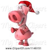 Swine Clipart of 3d Christmas Pig Facing Left by Julos