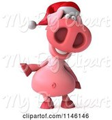 Swine Clipart of 3d Christmas Pig Gesturing to the Left by Julos