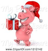 Swine Clipart of 3d Christmas Pig Mascot Wearing a Santa Hat and Carrying a Present 2 by Julos