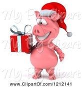 Swine Clipart of 3d Christmas Pig Mascot Wearing a Santa Hat and Carrying a Present by Julos