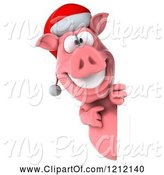 Swine Clipart of 3d Christmas Pig Mascot Wearing a Santa Hat and Looking Around a Sign by Julos