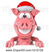 Swine Clipart of 3d Christmas Pig Mascot Wearing a Santa Hat over a Sign by Julos